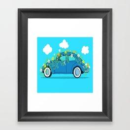 blue car flowers Framed Art Print