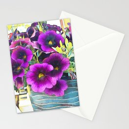 Purple planted Flowers Stationery Cards
