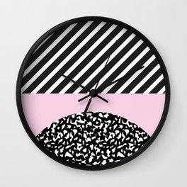 Memphis Pink Stripes 80s Wall Clock