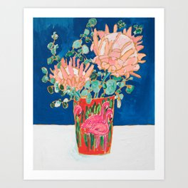 Protea in Enamel Flamingo Tumbler Painting Art Print