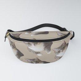 beige tan grey american wirehair cat pattern Fanny Pack