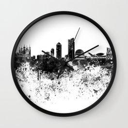 Lyon skyline in black watercolor Wall Clock