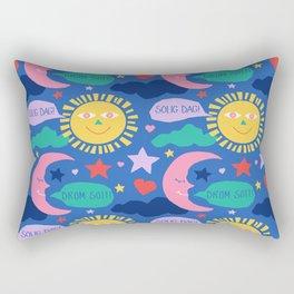 Swedish Folk Celestial in Country Blue Rectangular Pillow