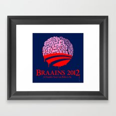 Vote Braains 2012 - A Zombie You Can Believe In Framed Art Print