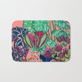 Cluster of Houseplants and Proteas on Pink Still Life Painting Bath Mat