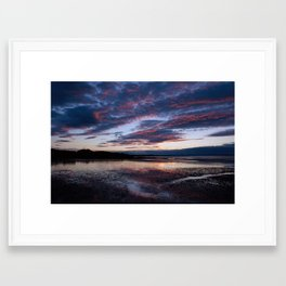 red sky reflecting on the sand Framed Art Print