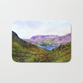 View Down to Buttermere, Lake District, UK Watercolour Painting Bath Mat