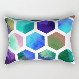 Blue Hexagons Rectangular Pillow