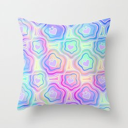 'I Love You Umlaut' Valentine's Pattern - Morning Iridescence Throw Pillow