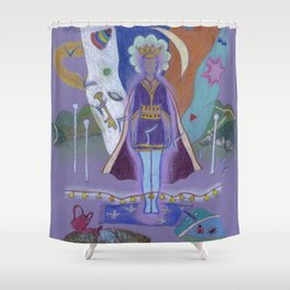 Holding Space Shower Curtain