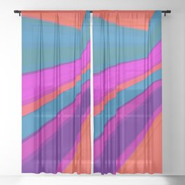 Abstract geometric pattern.Multicolored stripes Sheer Curtain