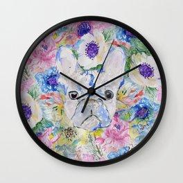 Abstract French bulldog floral watercolor paint Wall Clock