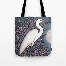 Egret in the Moonlight Tote Bag