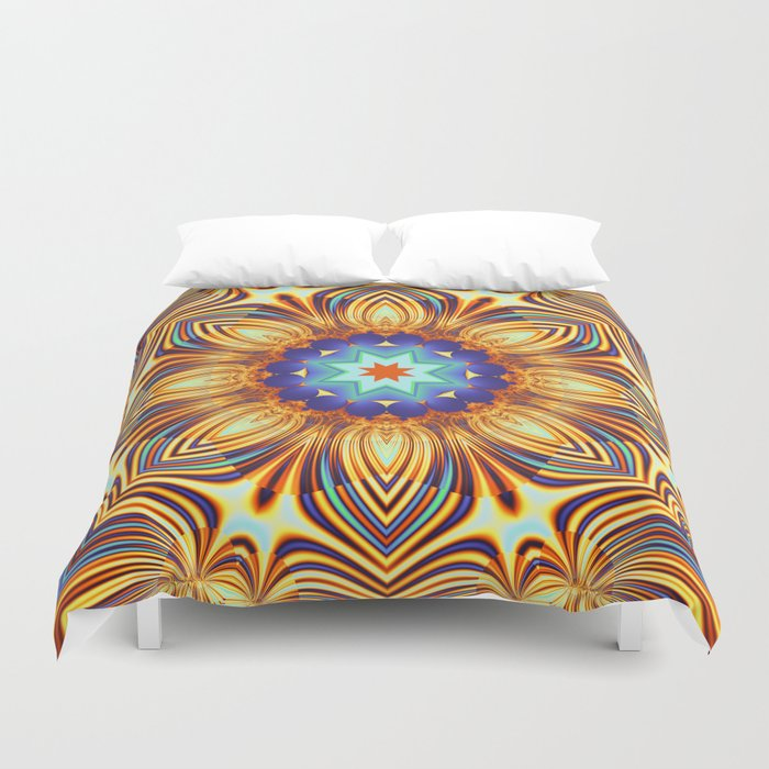 Kaleidoscope abstract with a flower shape and tribal patterns Duvet Cover