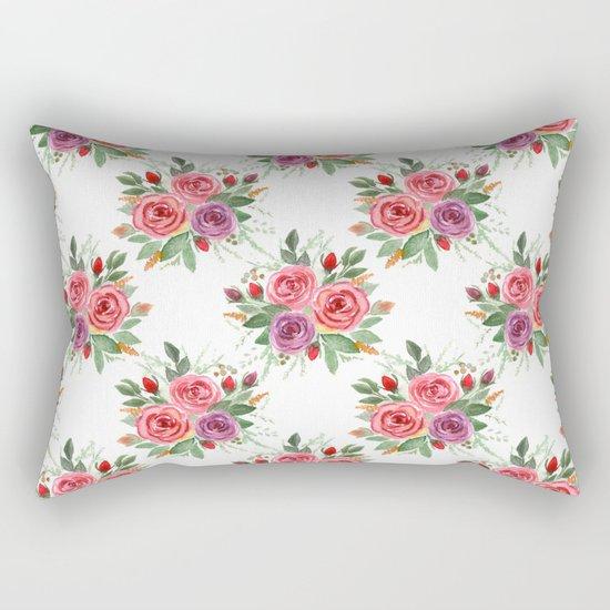 Watercolor . A bouquet of roses. 2 Rectangular Pillow