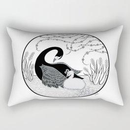 Black Swan and Moonlark Rectangular Pillow