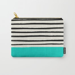 Aqua & Stripes Carry-All Pouch