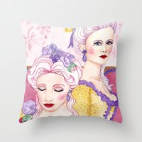 agnes cecile Throw Pillows featuring Marie & Cecile by artofnadia