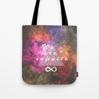 infinite Tote Bags featuring Infinite by MJ Mor