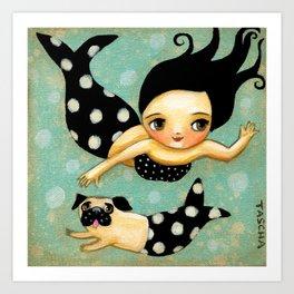 Pug Mermaid swimming in the sea by Tascha Parkinson Art Print