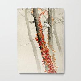 Sparrows in the forest - Vinatage Japanese woodblock print Art Metal Print