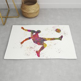 Soccer player isolated 09 in watercolor Rug