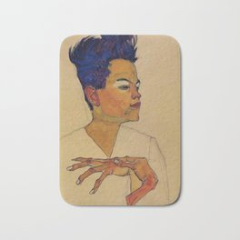 SELF PORTRAIT WITH HANDS ON CHEST - EGON SCHIELE Bath Mat