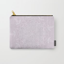White Vector Mandala on Light Purple Carry-All Pouch