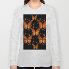 ORANGE MONARCH BUTTERFLIES BLACK MONTAGE Long Sleeve T-shirt