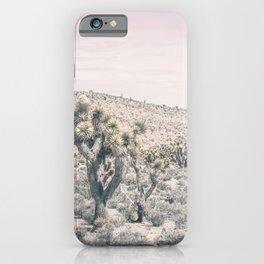 Mojave Pink Dusk // Desert Cactus Landscape Soft Cloudy Sky Mountain Scape Photograph iPhone Case