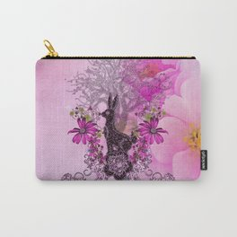 Funny easter bunny with flowers Carry-All Pouch