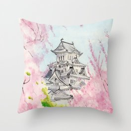 Himeji Castle , Art Watercolor Painting print by Suisai Genki , cherry blossom , Japanese Castle Throw Pillow