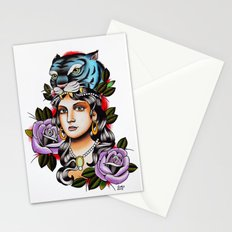PaperTigress girl with tiger head - tattoo Stationery Cards
