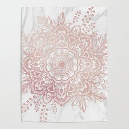 Queen Starring of Mandala-White Marble Poster