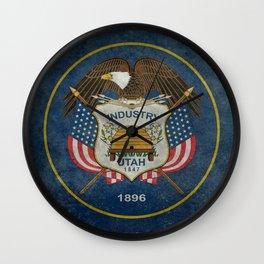 Utah State Flag, vintage retro style Wall Clock