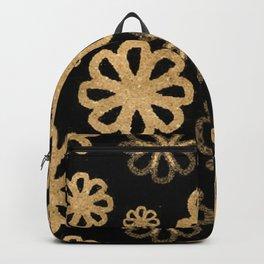 Glitter Sand Flower Pattern-Gold&Black Backpack