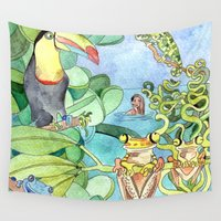 frog Wall Tapestries featuring Frog by Emelinedou