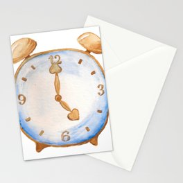 Cartoon alarm clock Stationery Cards