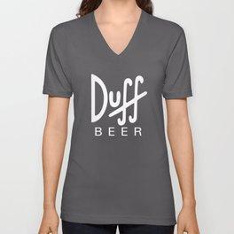 Duff Beer Logo White Unisex V-Neck