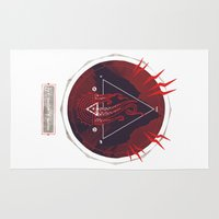 lovecraft Area & Throw Rugs featuring Mountain of Madness (red) by Hector Mansilla