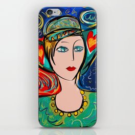 Pop Girl Art Deco with Hat and hearts iPhone Skin