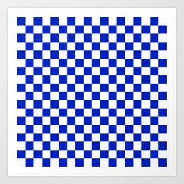 Cobalt Blue and White Checkerboard Pattern Art Print