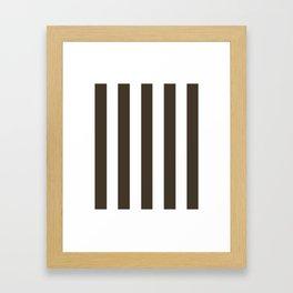Jacko bean brown - solid color - white vertical lines pattern Framed Art Print