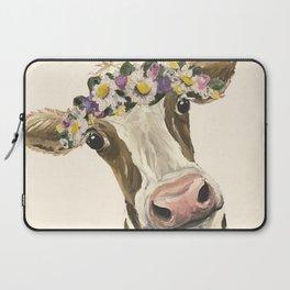 Cow Art, Flower Crown Cow Art Laptop Sleeve