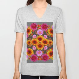 Charcoal Grey Red Pink Roses Golden Sunflowers Yellow Art Unisex V-Neck