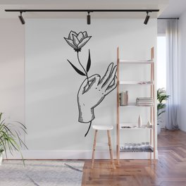 Hold This Flower for Me Please - Black on white Wall Mural