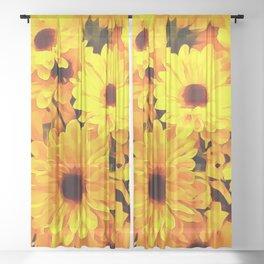 Daisies Yellow 3 Sheer Curtain