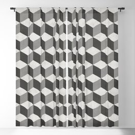 Geometric Cube Pattern  - Black, White, Grey Blackout Curtain