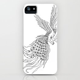 Simorgh or Simurgh Flying Drawing iPhone Case