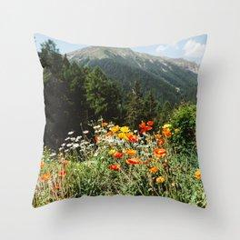 Mountain garden in Switzerland mountains Throw Pillow